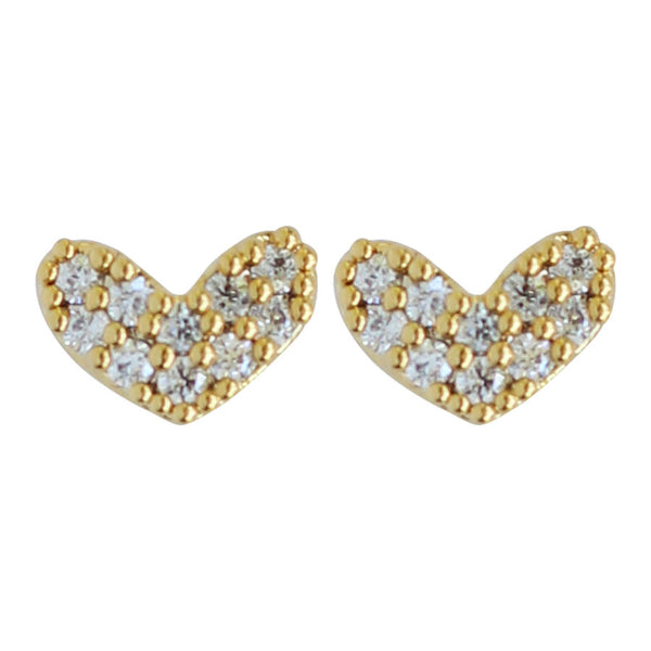 Tiny gold CZ pave' heart stud earrings, posts