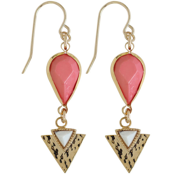 coral drop earrings with white triangle arrow, gold