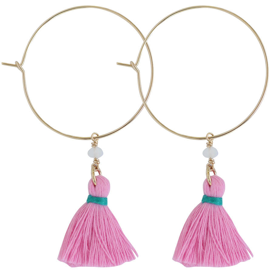gold hoop with tassels Pink, Turquoise