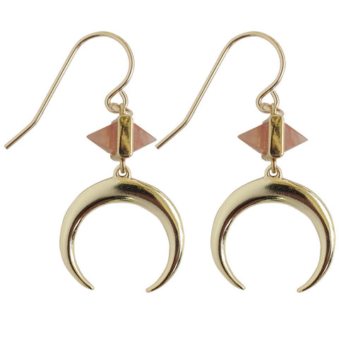 drop earrings with pink and gold charm and gold crescent Gold