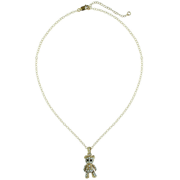 CZ pave', gold moveable bear. 14k gold filled chain