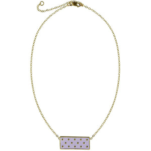 enamel pendant, rectangle, polka dot, 14k gold filled chain. Lavender, Mint