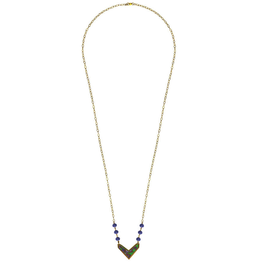 jasper chevron pendant, 14k gold filled chain, Turquoise, Pink, Blue