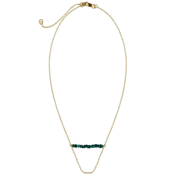 gemstone bar, 14k gold filled chain, Rainbow, Blue, Teal