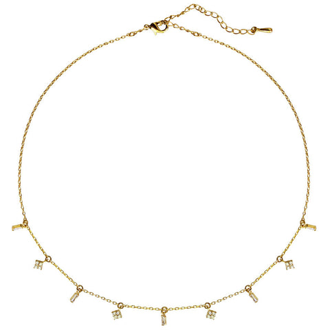 girls gold tone chain with CZ pave' charms, dangling, kids 12