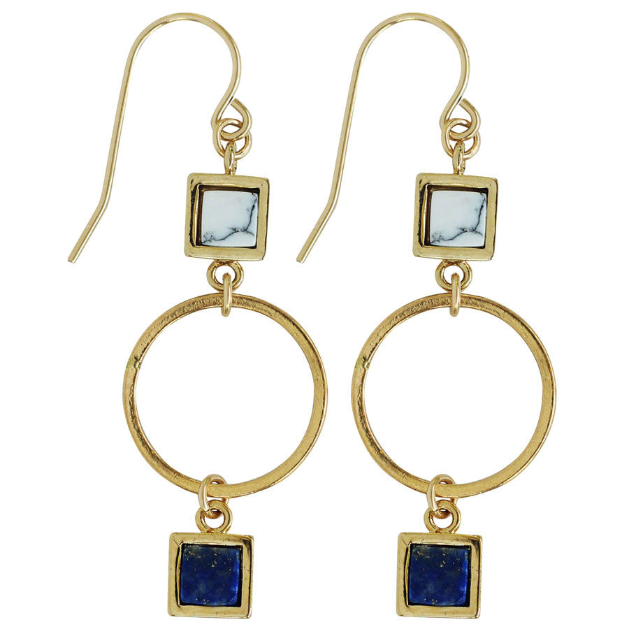 "1"" drop earrings with white marble, blue lapis, gold hoop. Gold"