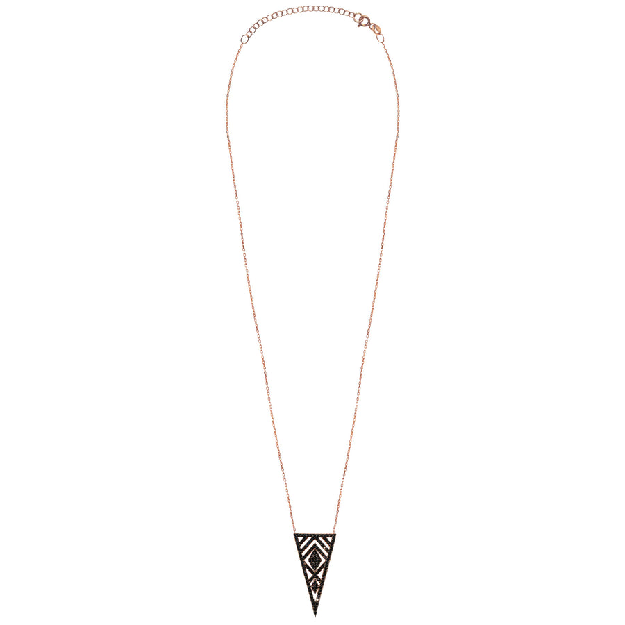rose gold black CZ triangle marquise necklace