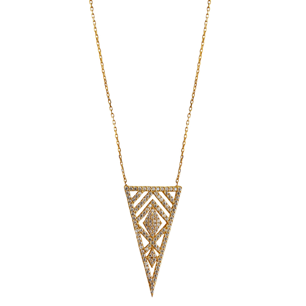 gold CZ triangle marquise necklace