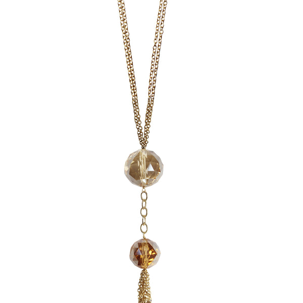 long gold double chain necklace faceted stones chain tassel