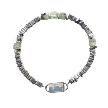 mens sterling silver bracelet tourmalated prehnite cubes