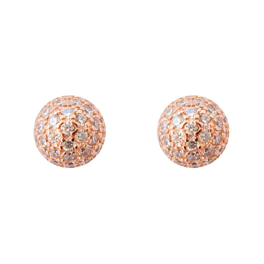 CZ pave button stud post backing earrings gold, rose gold, posts, round