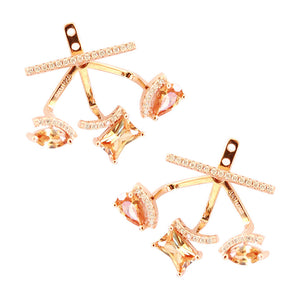 CZ pyramid ear jackets, gold, faceted blush stone