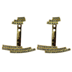 gold CZ pave' ear jackets earrings