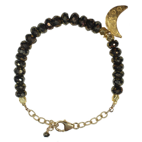 gold bronze bead gold moon charm bracelet