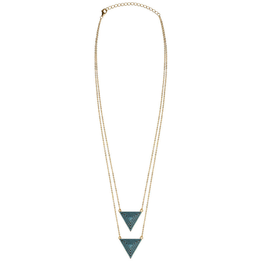 "gold turquoise CZ pavé triangle layered necklace, double triangles 16"" with 2"" extender"