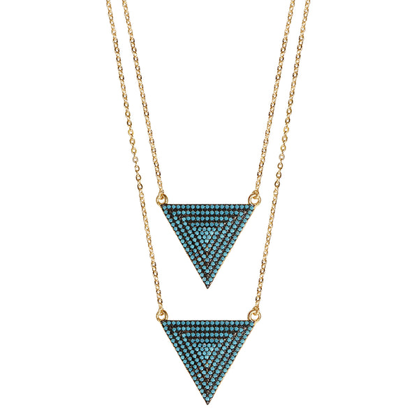 gold double turquoise CZ pavé triangle layered necklace