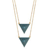 gold turquoise CZ pavé triangle layered necklace, double triangles 16
