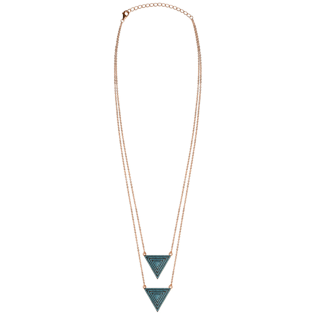 rose gold double turquoise CZ pavé triangle layered necklace