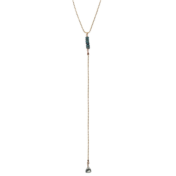 gold chain necklace semi precious aqua marine green amethyst
