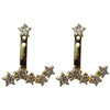 Gold CZ star ear jackets earrings