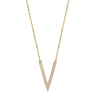 gold chain deep CZ pave necklace