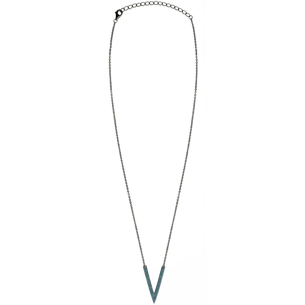 black chain deep turquoise CZ pave necklace