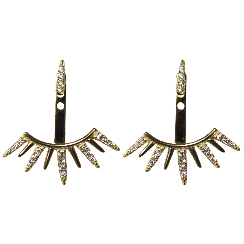 Gold CZ spike ear jackets earrings