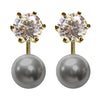 gold CZ grey pearl earrings