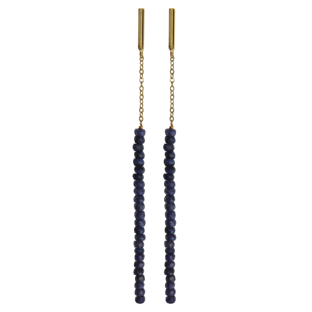 gold chain semi precious blue sapphire drop earrings