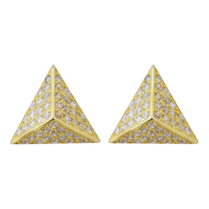 CZ pave' pyramid stud earrings, gold posts