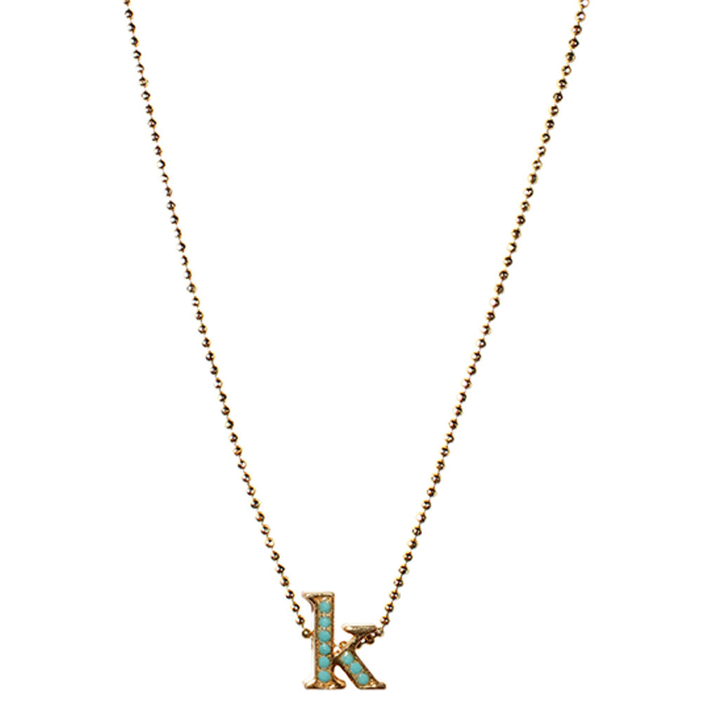 Initials in Gold/Turquoise, Gold/Coral, Gold/Hematite Gold/Crystal Silver/Crystal necklace