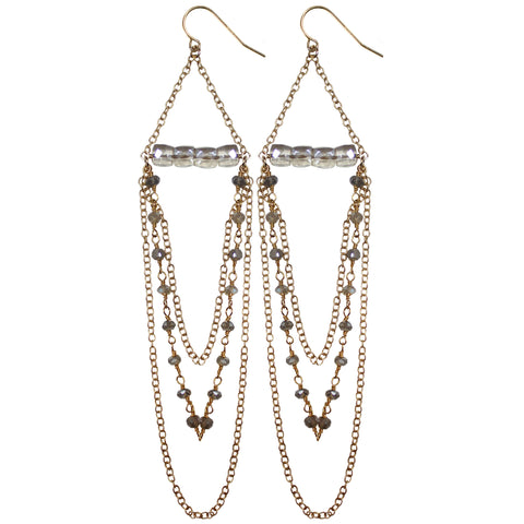 gold drop wire wrap chain earrings semi precious grey sapphire cubes