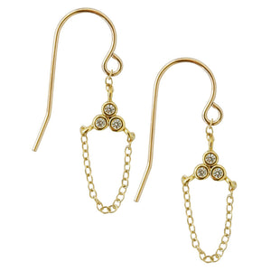 CZ triangle earrings with 14k gold filled chain drop, french ear wire