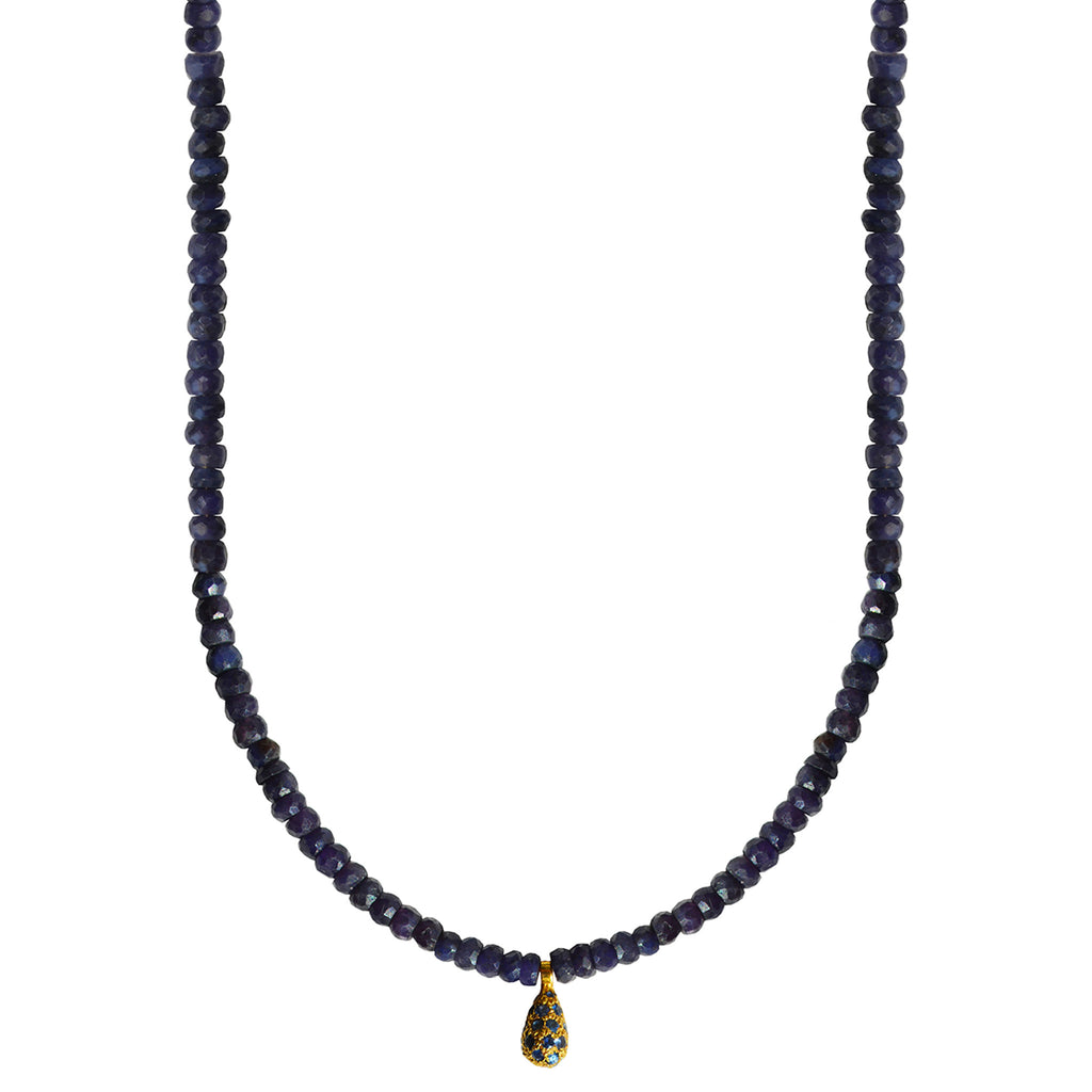 semi precious sapphire gold drop blue necklace