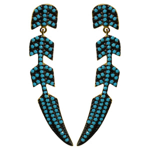 turquoise feather drop CZ pave' post earrings