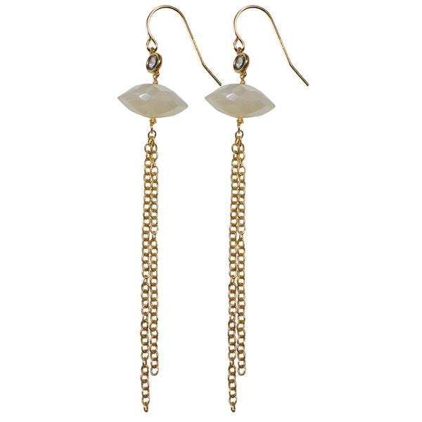 gold semi precious moonstone CZ drop tassel earrings