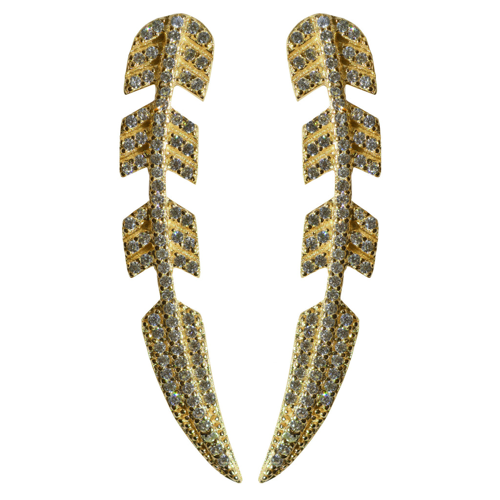 gold CZ pave' ear crawler stud feather earrings