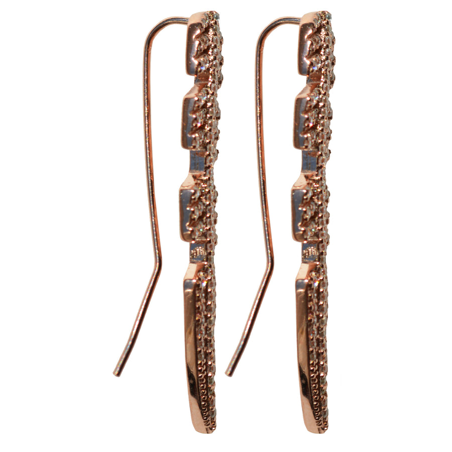 rose gold CZ pave' ear crawler earrings feather post