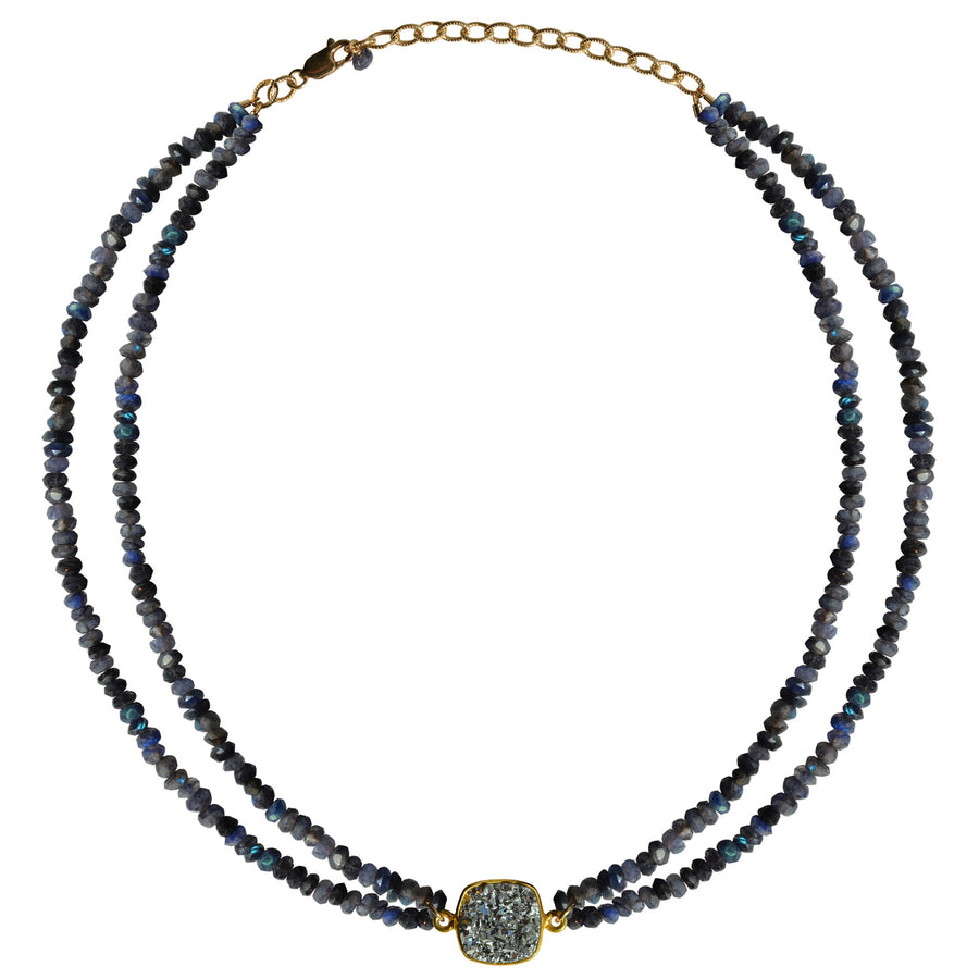 blue labradorite choker druzy necklace