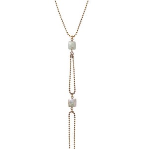 long faceted gold chain white semi precious cube stone necklace
