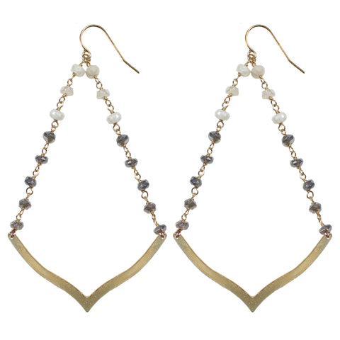 gold V semi precious white sapphire labradorite drop earrings