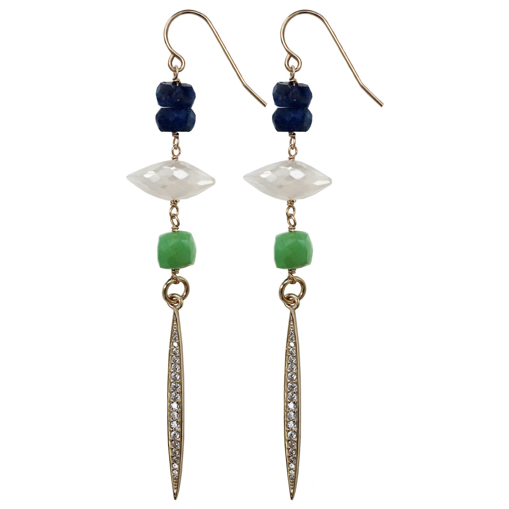 gold semi-precious blue sapphire pearl chalcedony chrysoprase CZ gold spike drop earrings