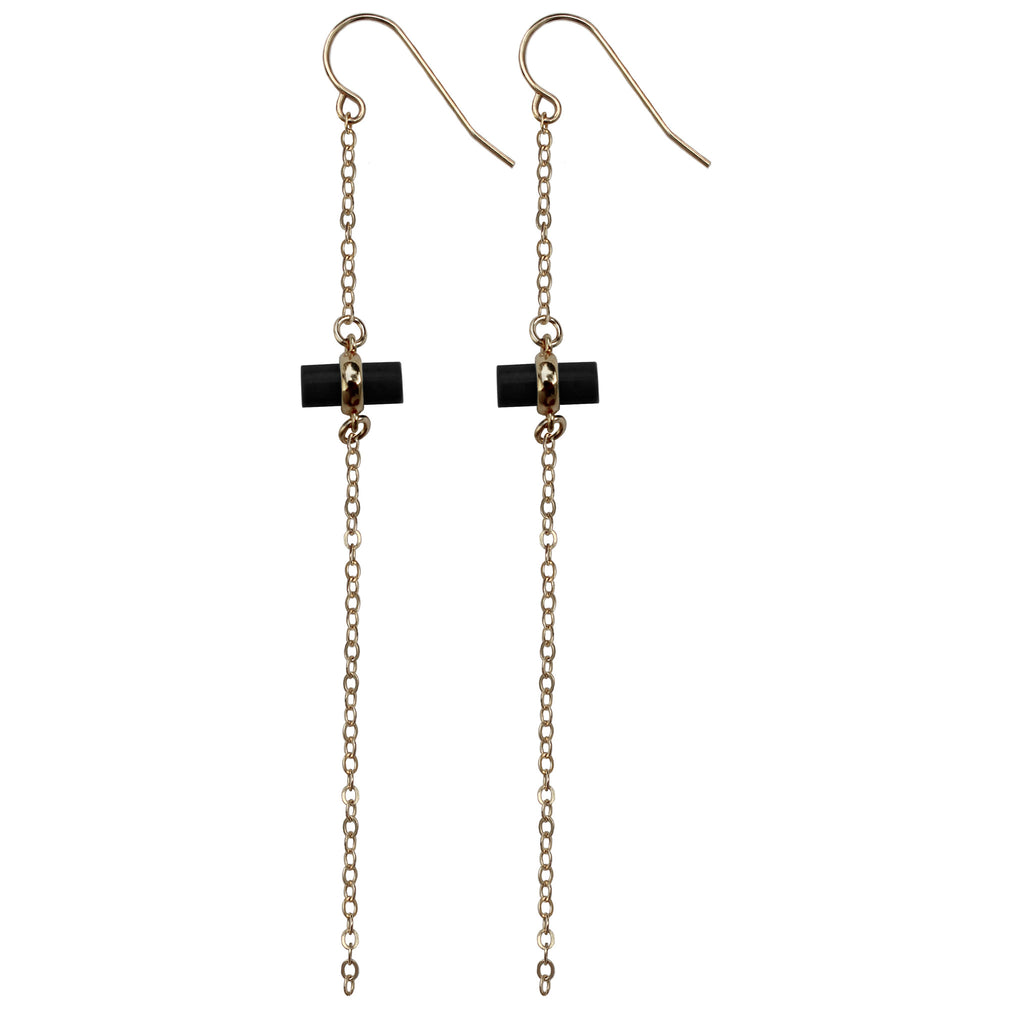 gold chain black bar charm drop earrings