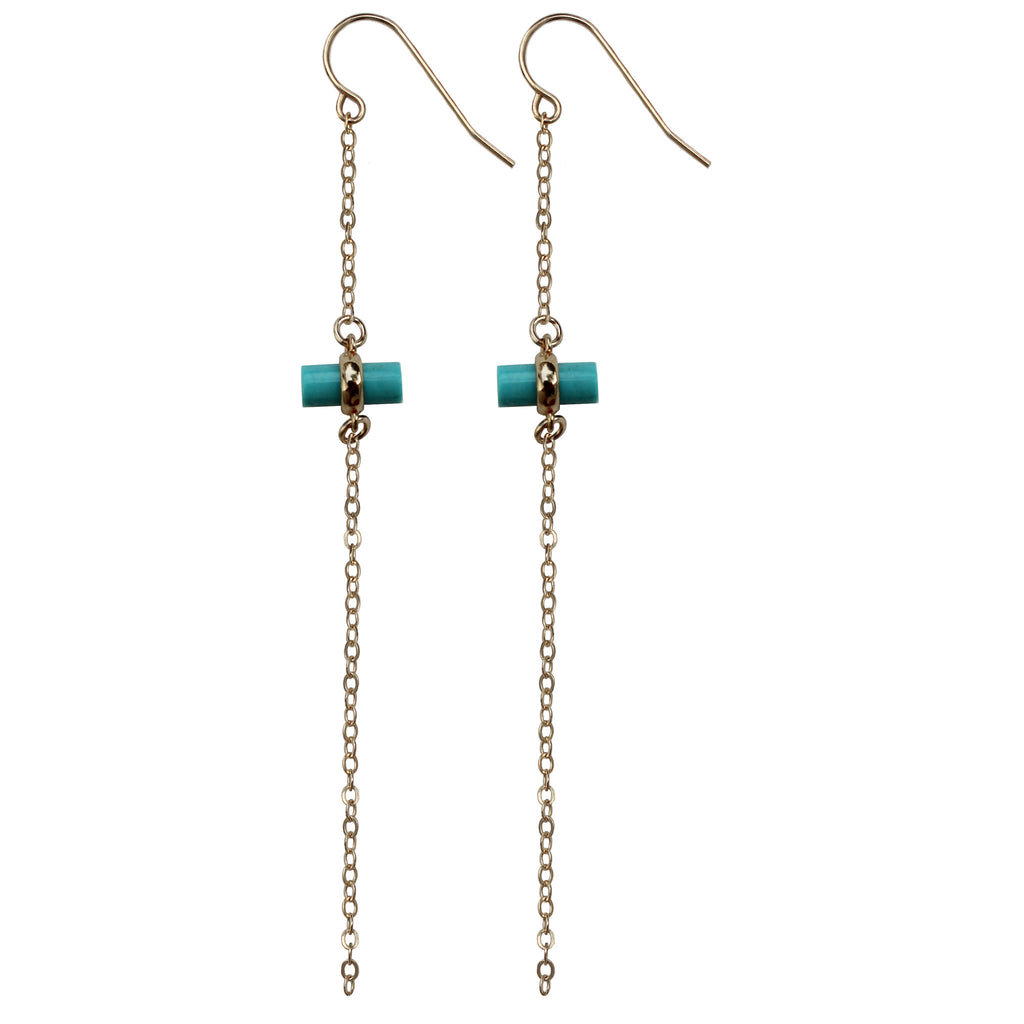 gold chain turquoise bar charm drop earrings