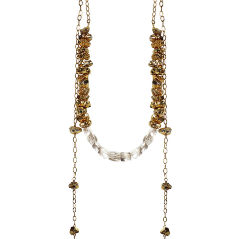 long gold layered necklace pyrite nuggets grey sapphires