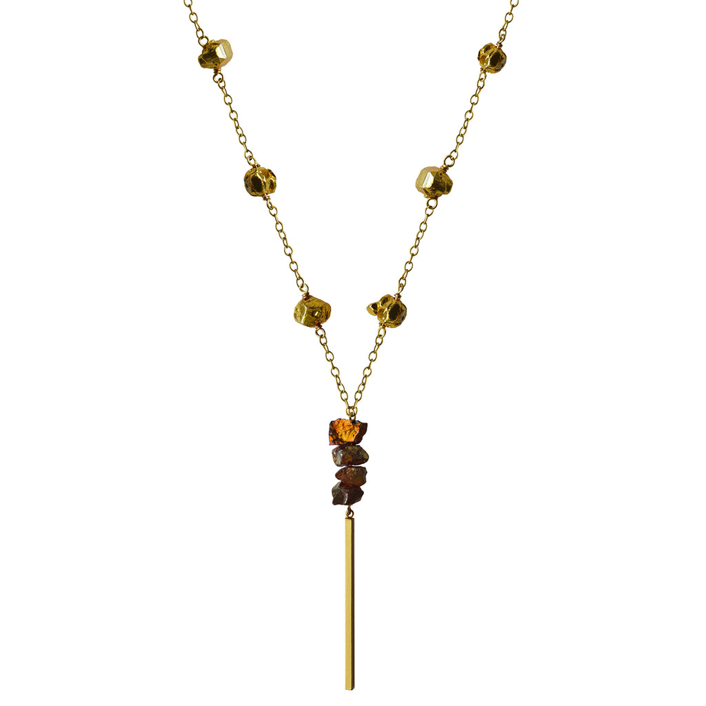 gold chain garnet gold pyrite nuggets matte gold bar necklace