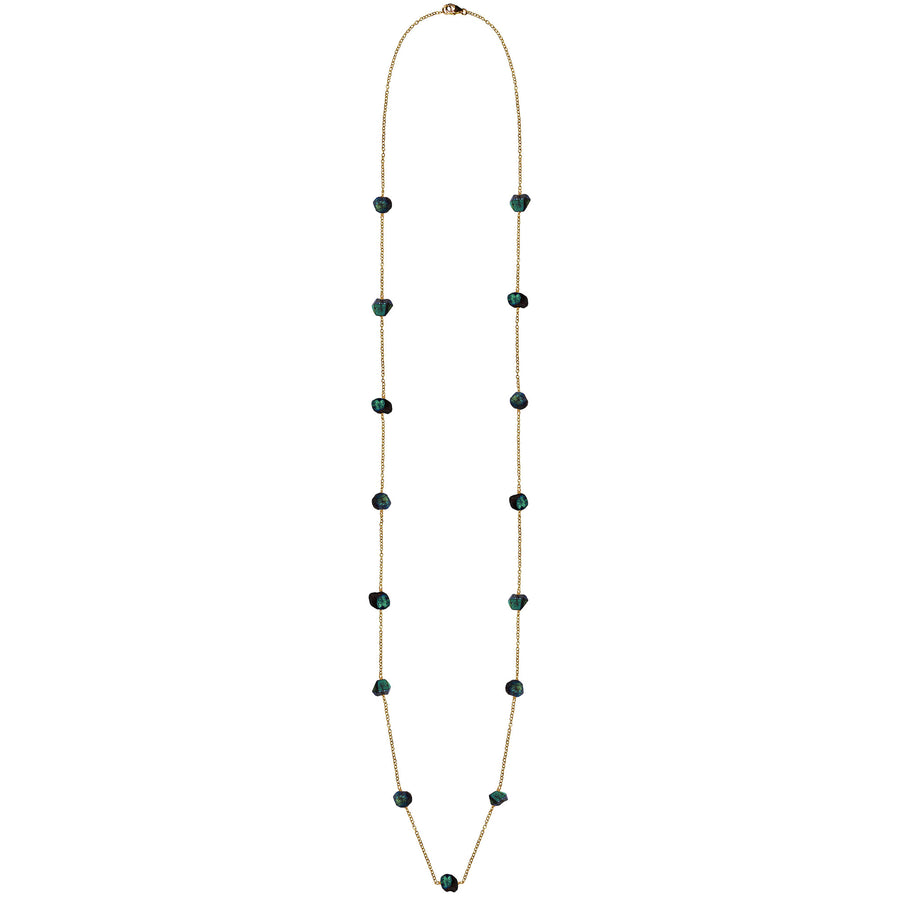 long  gold chain rough cut garnet necklace