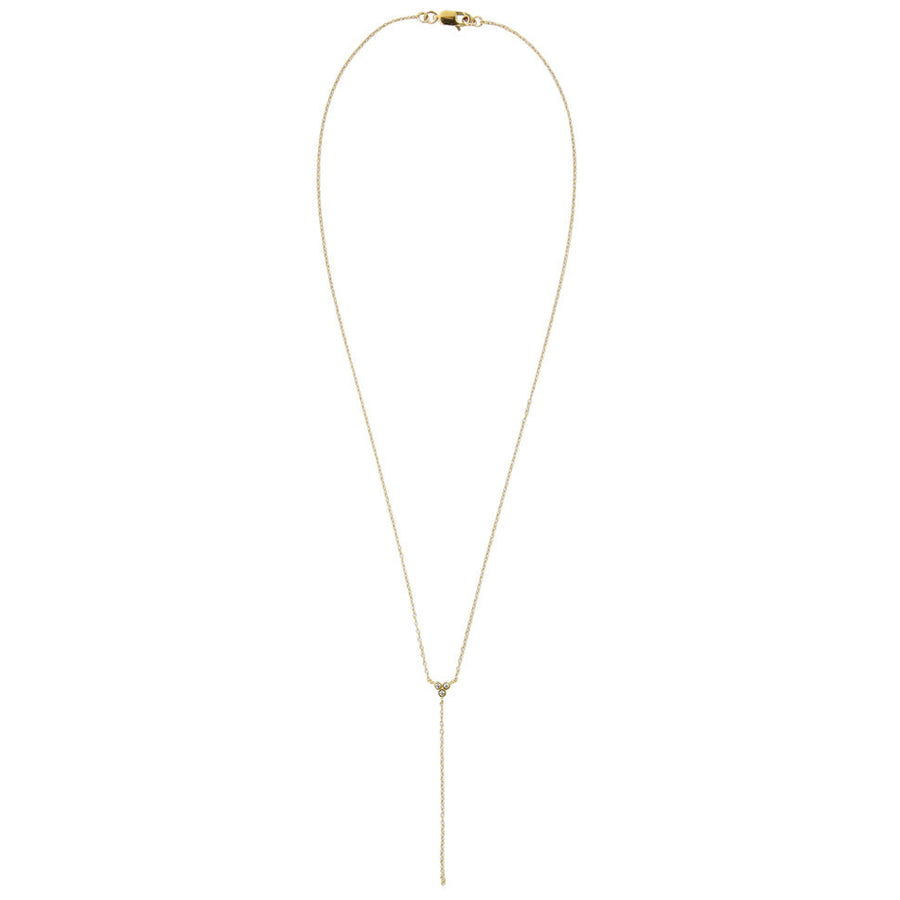 CZ pave' triangle necklace with chain drop, 14k gold filled chain, delicate