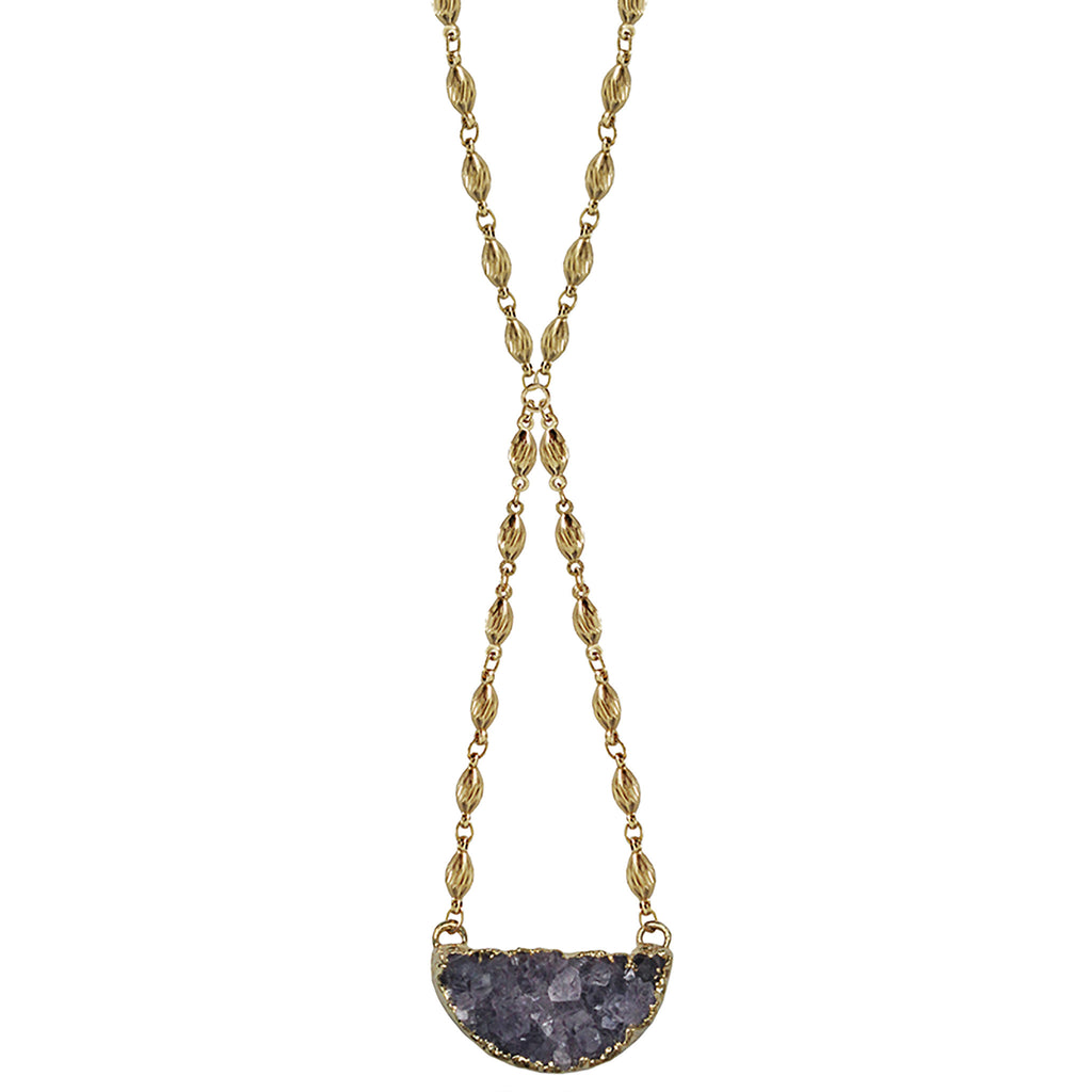 gold necklace 24k gold-wrapped amethyst druzzy