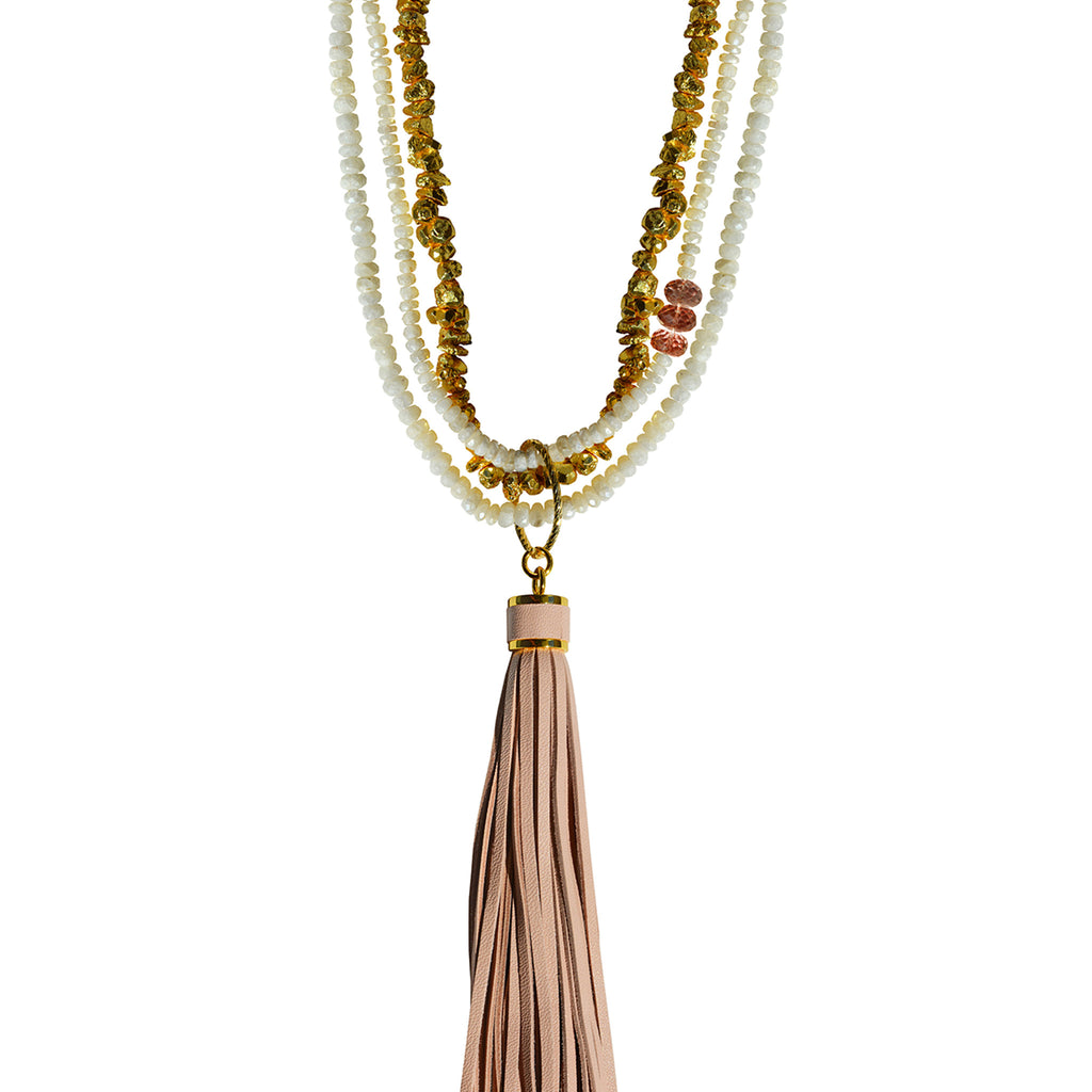 gold necklace pink topaz white sapphire gold pyrite removable pink tassel